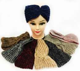 12 Units of Knitted Multicolored Simple Design Headbands - Ear Warmers