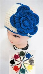12 Units of White Background Flower Knitted Headbands - Ear Warmers