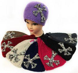 12 Units of Large Rhinestone Cross Design Knitted Headband - Ear Warmers