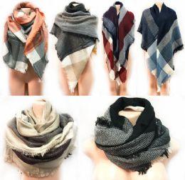 12 Bulk Large Blanket Scarves Wrap Assorted Color Plaid Print
