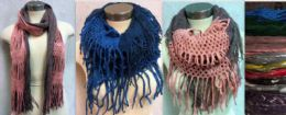 12 Units of Dual Purpose Dual Pattern Infinity Circle Knitted Scarf - Winter Scarves