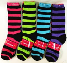 12 Units of Women's Bright Colored Stripes Knee Highs - Womens Knee Highs