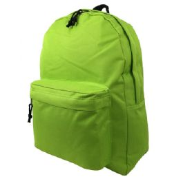 """40 Units of 16"""" Simple Classic Backpack In Fluorescent Green - Backpacks 16"""""""