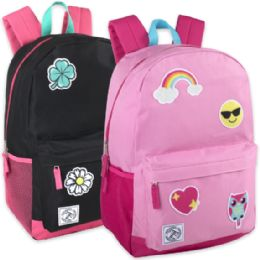 """24 Units of 18 Inch Patches Backpack With Side Pockets - Girls - Backpacks 16"""""""