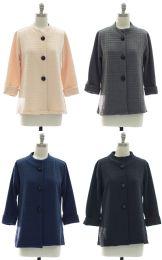 24 Units of Mandarin Collar Textured Coat Assorted - Women's Winter Jackets