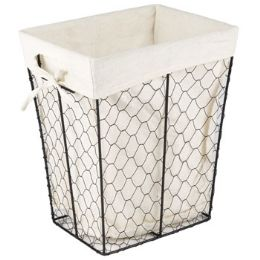 24 Units of Rectangle Wire Basket W/cotton Liner - Waste Basket