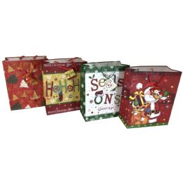 """48 Units of Party Solutions Xmas Gift Bag Medium 7w""""x4d""""x9h"""" Braided Rope Handle Astd Designs - Christmas Gift Bags and Boxes"""