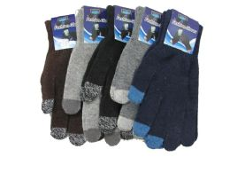 72 Units of Mens Wool Touch Screen Thermal Winter Gloves - Conductive Texting Gloves