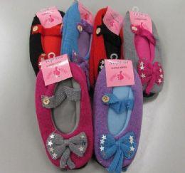 24 Units of Ladies Slipper Socks With Bow - Womens Slipper Sock