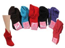 24 Units of Ladies Winter Knit Slipper Socks - Womens Slipper Sock