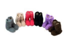 24 Units of Ladies Colorful Fuzzy Slipper Boot With Rubber Grip - Womens Slipper Sock