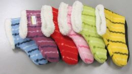 60 Units of Ladies Striped Fuzzy Slipper Boot With Rubber Grip - Womens Slipper Sock