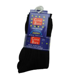 144 Units of Boys Nylon Dress Socks, Boys Uniform Socks, Solid Black Size M - Boys Dress Socks