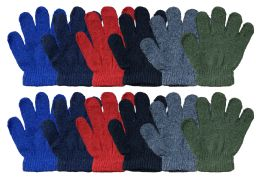 12 Bulk Yacht & Smith Kids Warm Winter Colorful Magic Stretch Gloves Ages 2-5