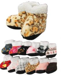 60 Wholesale Girls Printed Slipper Boots