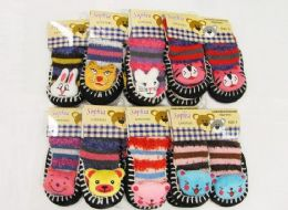 126 Wholesale Girls Printed Slipper Socks With Rubber Sole