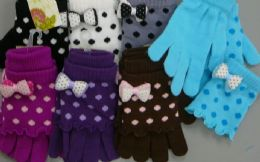 180 Units of Ladies Glove 2 In 1 With Dot Print And Bow - Winter Gloves