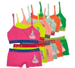 36 Units of Girl's Seamless Racer Back Bra And Boxer Set - Girls Underwear and Pajamas