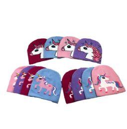 48 Units of Child's Unicorns Knit Beanie Hat - Junior / Kids Winter Hats