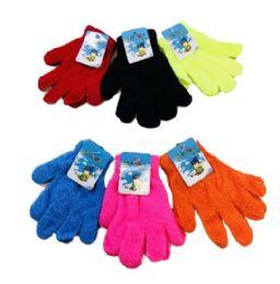 24 Bulk Kids Knitted Stretch Gloves
