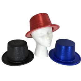 48 Wholesale Party Solutions Glitter Bucket Party Hat Assorted Colors