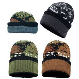 72 of Winter Knit Hat With Fleece Lining In Camo