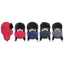 24 Units of Winter Fashion Fur Ski Hat With Mask - Unisex Ski Masks