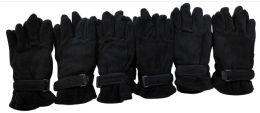 144 Bulk Mens Black Fleece Winter Gloves
