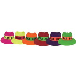 144 Units of New Year Trilby Hat Neon Colors - New Years
