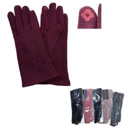 48 of Women's Rhinestone PlusH-Lined Touch Screen Gloves