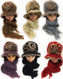 12 of Winter Knitted Lady Hat And Scarf Set Assorted Colors