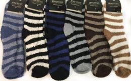 12 Units of Men's Striped Fuzzy Socks - Men's Fuzzy Socks