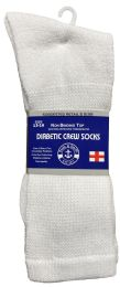24 Units of Yacht & Smith Men's King Size Loose Fit NoN-Binding Cotton Diabetic Crew Socks White Size 13-16 - Big And Tall Mens Diabetic Socks
