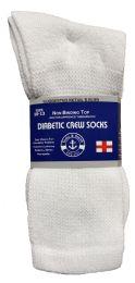 24 Units of Yacht & Smith Men's Loose Fit NoN-Binding Soft Cotton Diabetic Crew Socks Size 10-13 White Bulk Pack - Men's Diabetic Socks