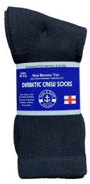 24 Units of Yacht & Smith Women's Cotton Diabetic NoN-Binding Crew Socks Size 9-11 Black - Women's Diabetic Socks