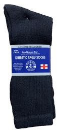 24 Units of Yacht & Smith Men's King Size Loose Fit NoN-Binding Cotton Diabetic Crew Socks Black Size 13-16 - Big And Tall Mens Diabetic Socks
