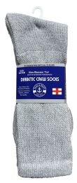 24 Units of Yacht & Smith Men's King Size Loose Fit NoN-Binding Cotton Diabetic Crew Socks Gray Size 13-16 - Big And Tall Mens Diabetic Socks