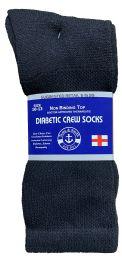 24 Units of Yacht & Smith Men's Loose Fit NoN-Binding Soft Cotton Diabetic Crew Socks Size 10-13 Black - Men's Diabetic Socks