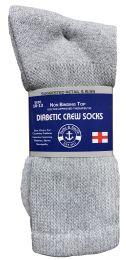 24 Units of Yacht & Smith Men's Loose Fit NoN-Binding Soft Cotton Diabetic Crew Socks Size 10-13 Gray - Men's Diabetic Socks