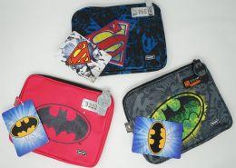 24 Units of Batman & Superman Tablet Zipper Locking Case - School Supplies