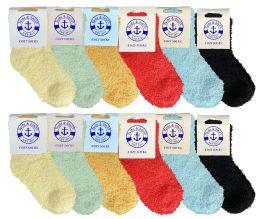 24 Units of Yacht & Smith Kids Solid Color Fuzzy Socks Size 4-6 - Girls Crew Socks