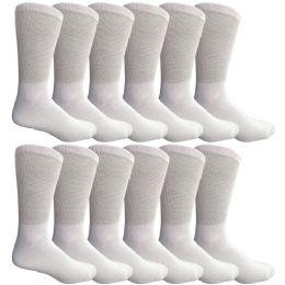 12 Bulk Yacht & Smith Men's Cotton Diabetic Crew Socks Loose Fit NoN-Binding White King Size 13-16