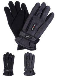36 Bulk Men Winter Ski Glove With Zipper And Fleece Lining