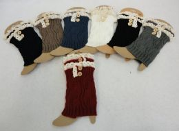48 Units of Knitted Boot Cuffs With Antique Lace [2 Buttons] - Womens Leg Warmers