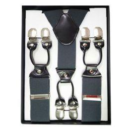 24 Units of Solid Suspenders Gray - Suspenders