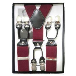 24 Units of Solid Suspenders Burgundy - Suspenders