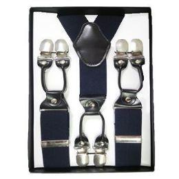 24 Units of Solid Suspenders Navy - Suspenders