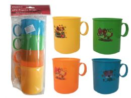 """48 Units of Cups W/ Handle 4pc 4asst Clr 3.1"""" - Cups"""