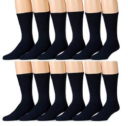 60 Bulk Yacht & Smith Men's King Size Loose Fit NoN-Binding Cotton Diabetic Crew Socks Navy Size 13-16