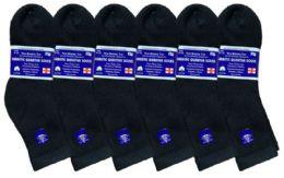 6 Bulk Yacht & Smith Women's Diabetic Cotton Ankle Socks Soft NoN-Binding Comfort Socks Size 9-11 Black